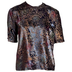 """FORTUNY Venice Fabric """"New"""" Couture Silk-Screened Hand Painted Velvet Shirt"""