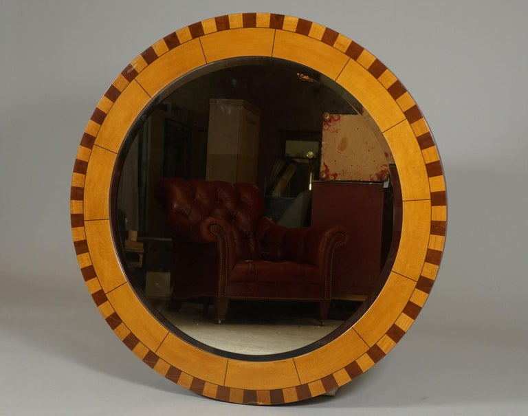 Mid-Century Modern Forty Two Inch Inlaid Circular Mirror For Sale