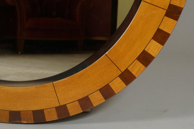 Marquetry Forty Two Inch Inlaid Circular Mirror For Sale