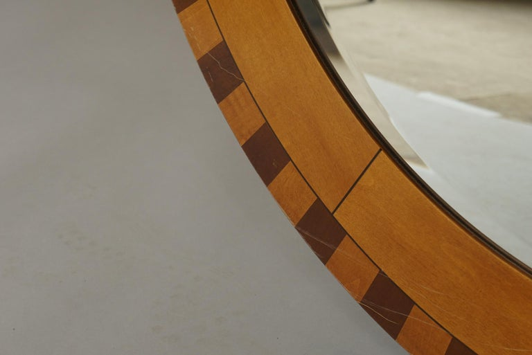 Forty Two Inch Inlaid Circular Mirror In Good Condition For Sale In Hudson, NY