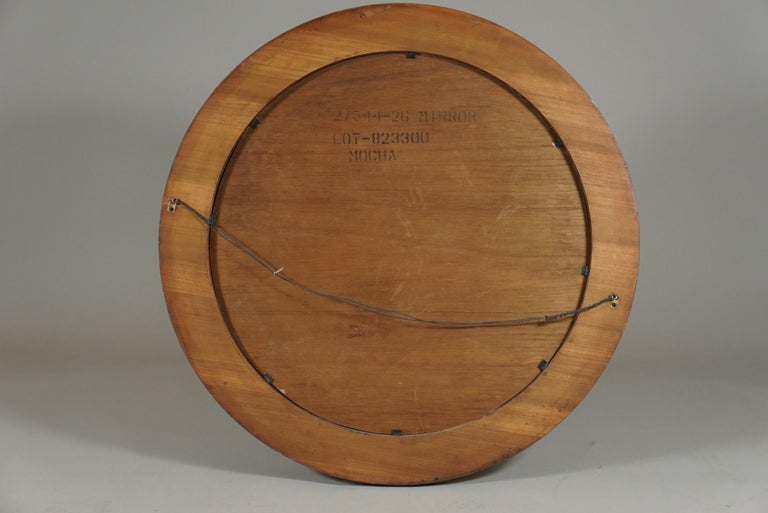 Fruitwood Forty Two Inch Inlaid Circular Mirror For Sale