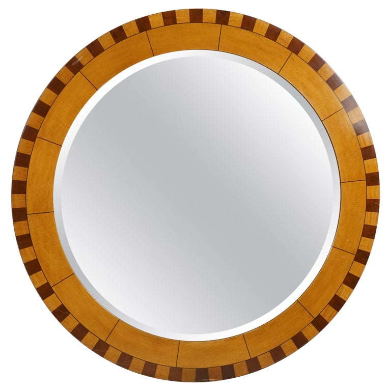 Forty Two Inch Inlaid Circular Mirror For Sale
