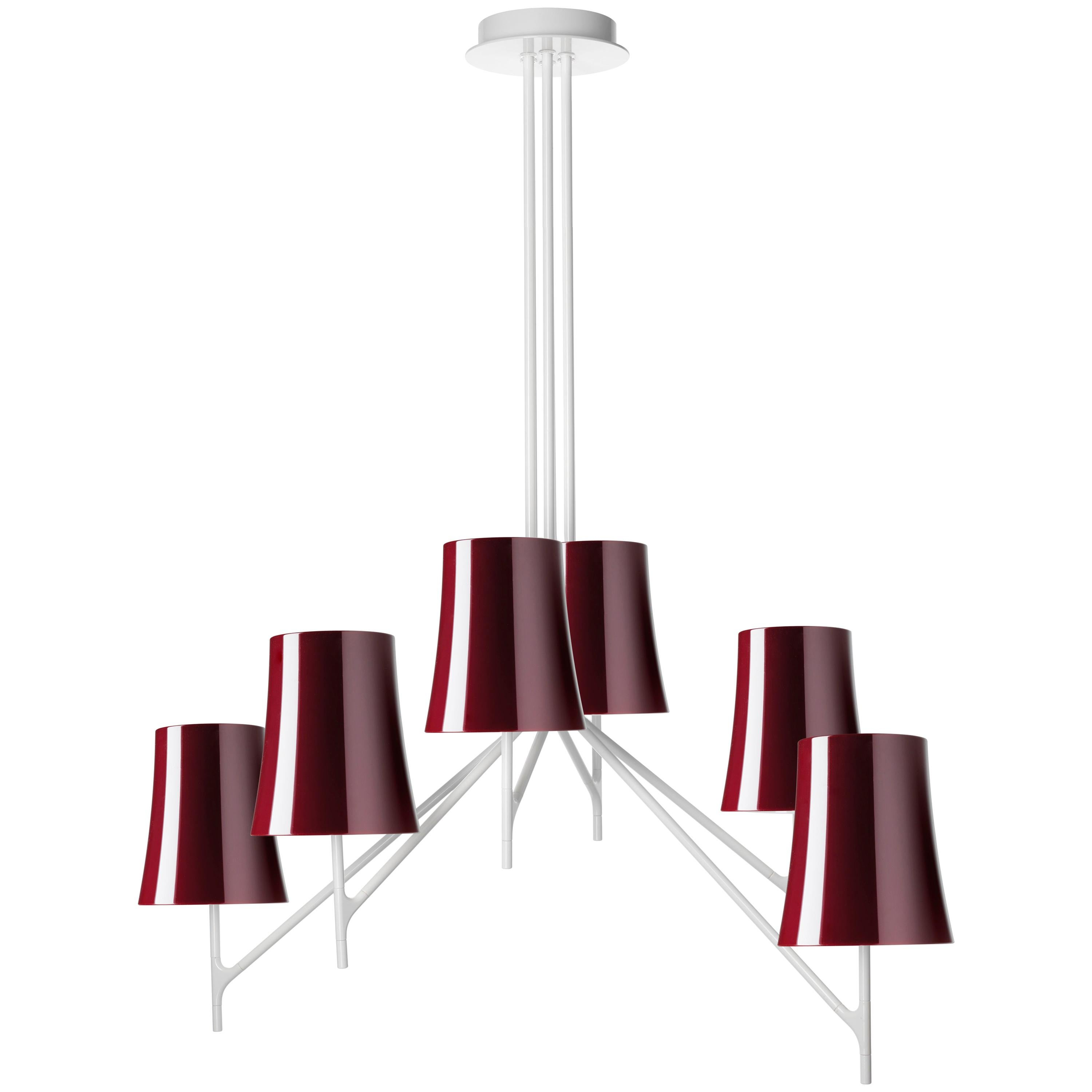 Foscarini Birdie 6 Chandelier in Amaranth by Ludovica and Roberto Palomba