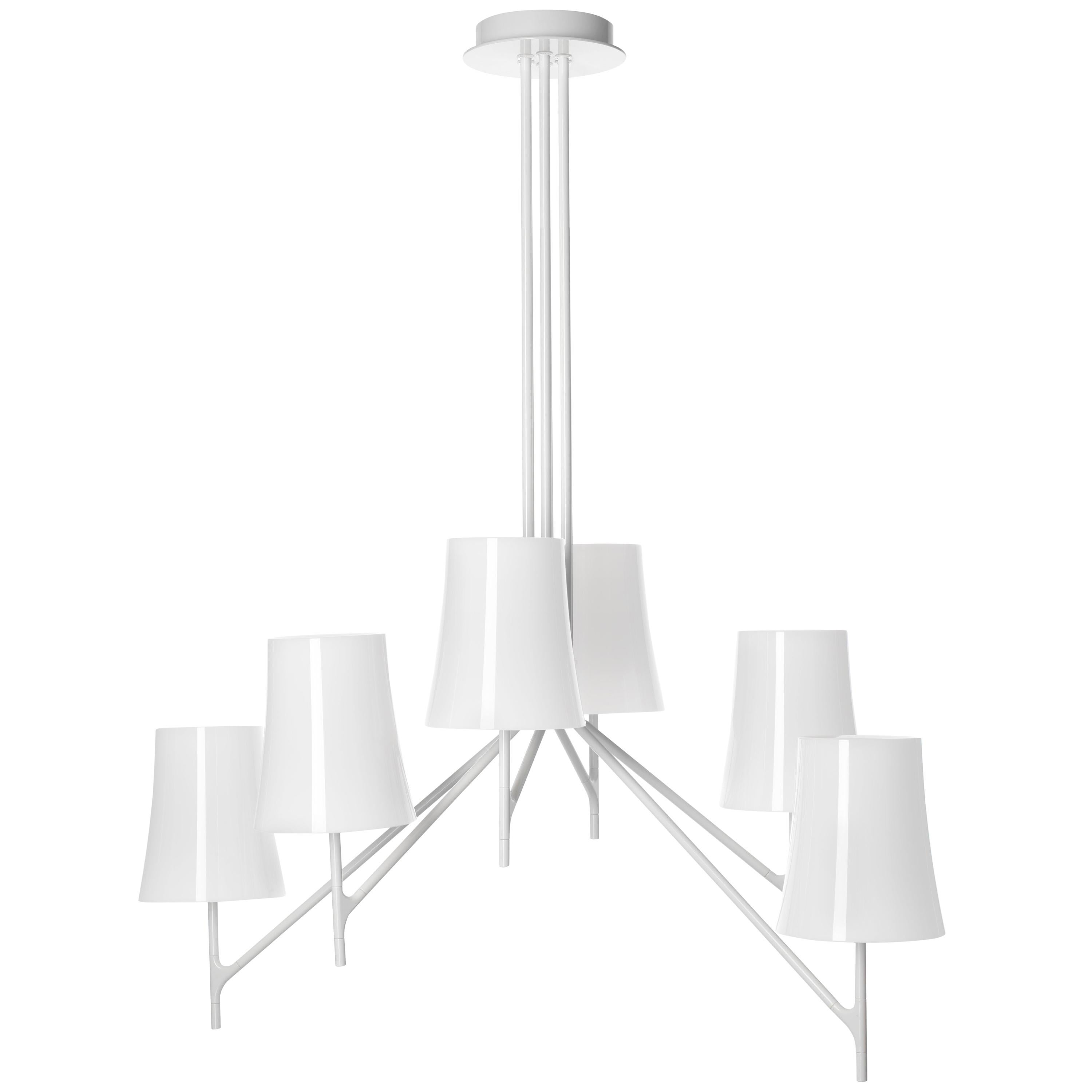 Foscarini Birdie 6 Chandelier in White by Ludovica and Roberto Palomba
