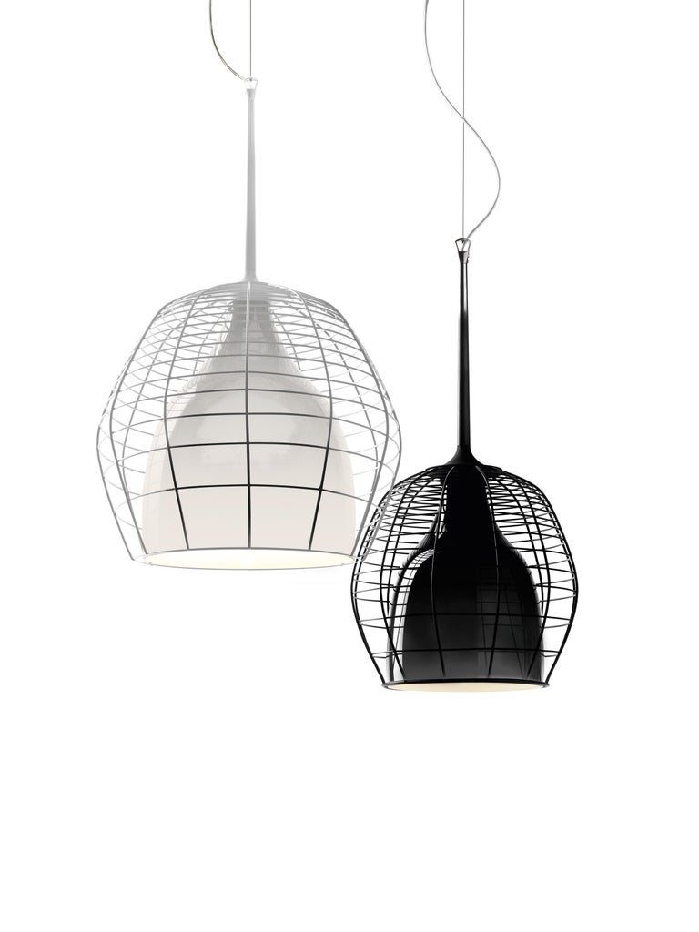 Modern Foscarini Cage Mic Suspension Lamp in White by Diesel For Sale