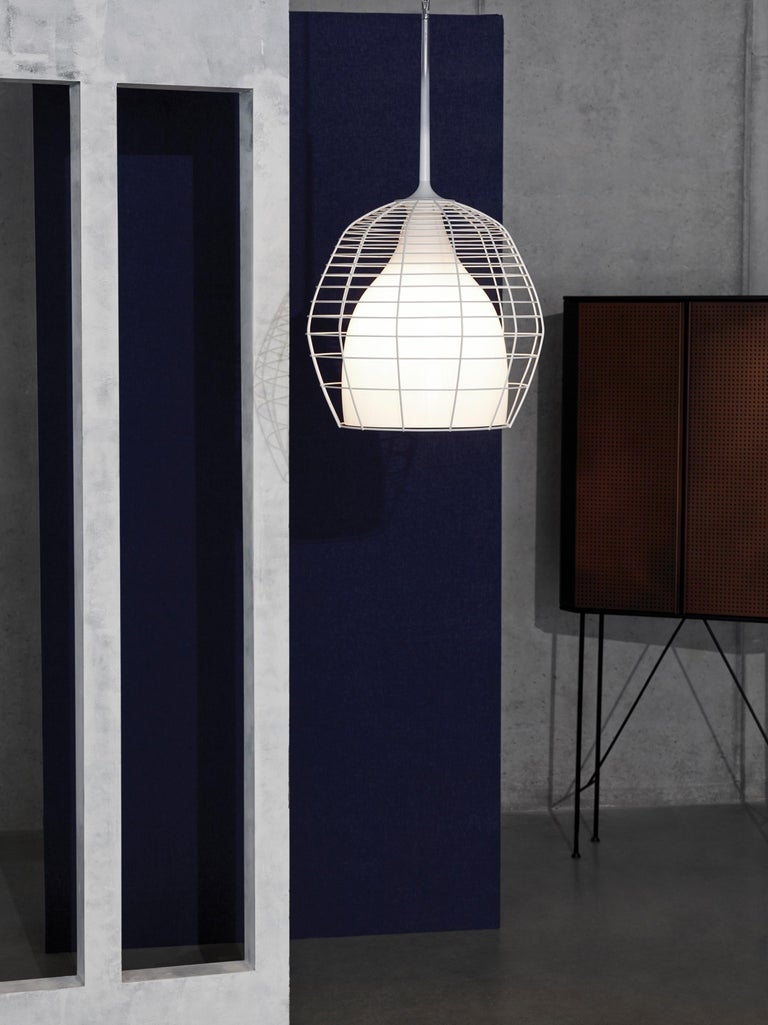 Contemporary Foscarini Cage Mic Suspension Lamp in White by Diesel For Sale