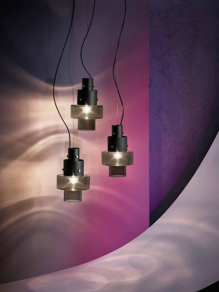 Varnished Foscarini Gask Suspension Lamp in Grey by Diesel For Sale