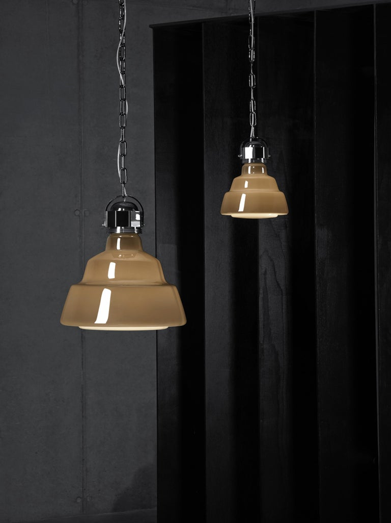 Italian Foscarini Large Glas Suspension Lamp in White by Diesel For Sale