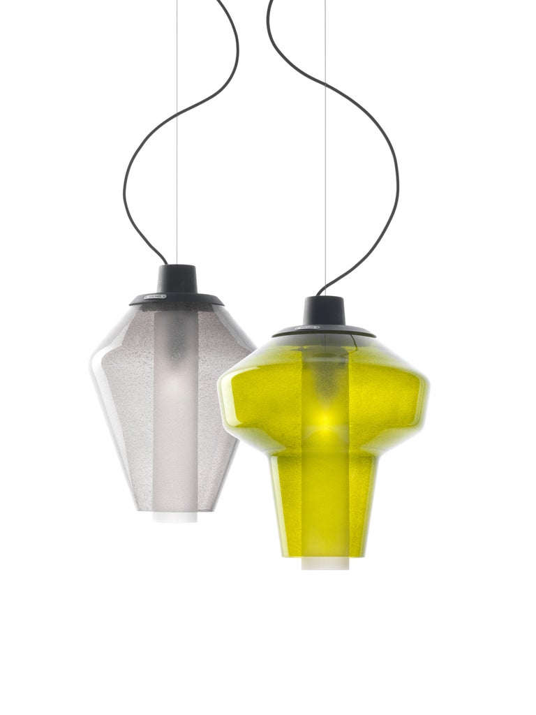 Modern Foscarini Metal Glass 2 Suspension Lamp in Green by Diesel For Sale