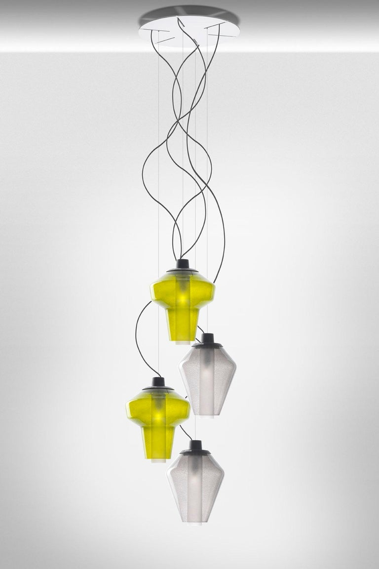 Italian Foscarini Metal Glass 2 Suspension Lamp in Green by Diesel For Sale