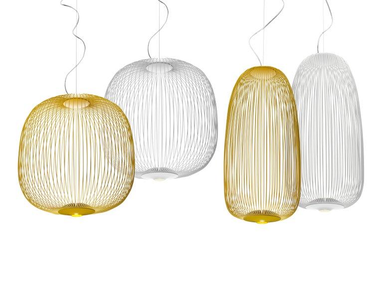 Italian Foscarini Spokes 1 Suspension Lamp in Copper by Garcia and Cumini For Sale
