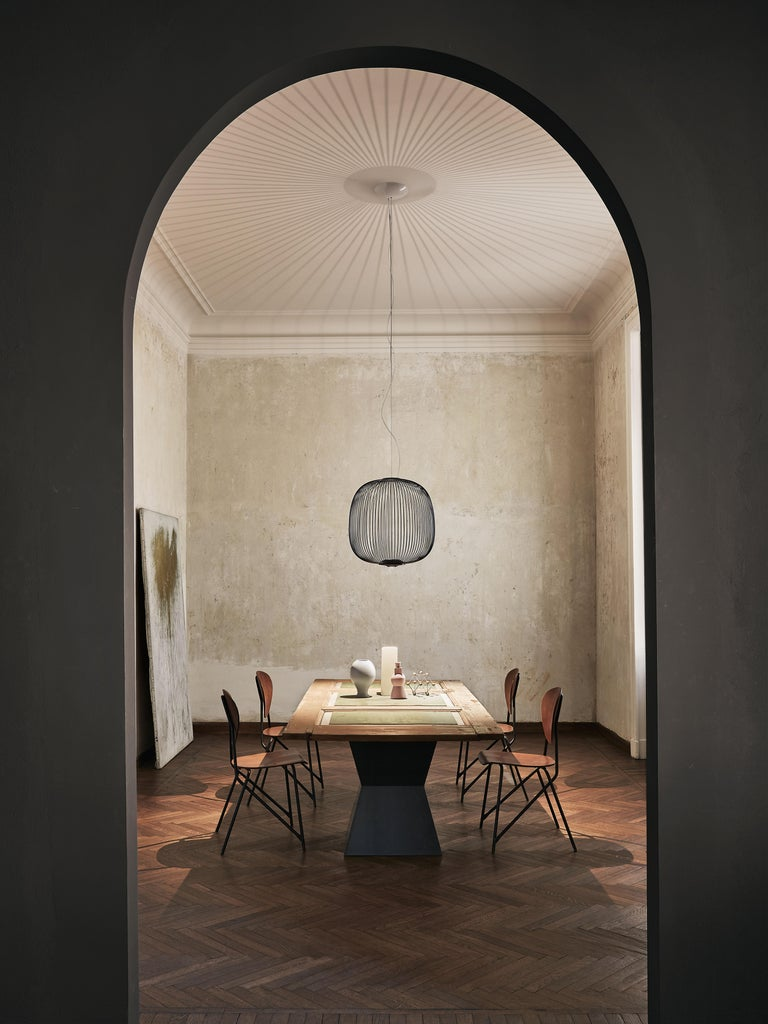 Modern Foscarini Spokes 2 Large Suspension Lamp in Graphite by Garcia and Cumini For Sale