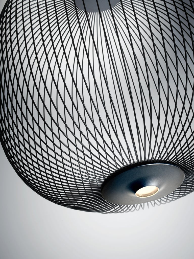 Foscarini Spokes 2 Large Suspension Lamp in Graphite by Garcia and Cumini In New Condition For Sale In New York, NY