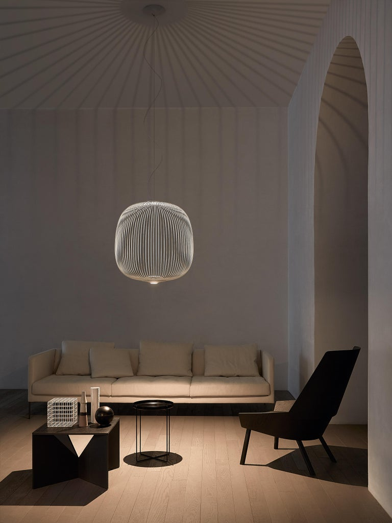 Modern Foscarini Spokes 2 Large Suspension Lamp in White by Garcia and Cumini For Sale