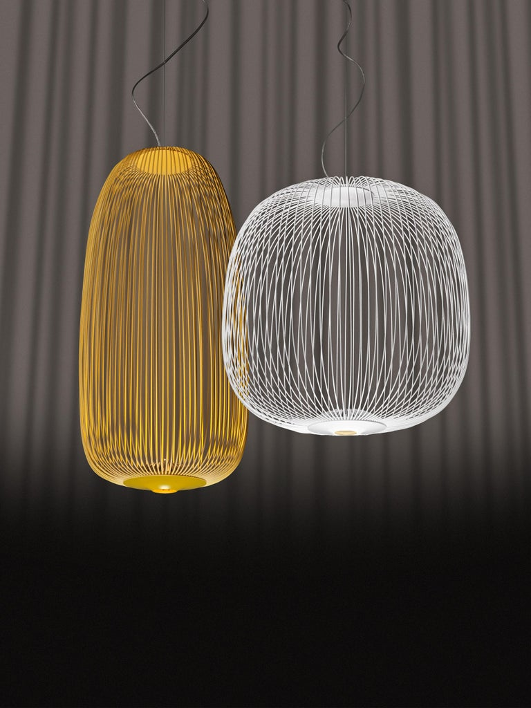 Foscarini Spokes 2 Large Suspension Lamp in White by Garcia and Cumini In New Condition For Sale In New York, NY