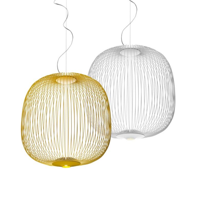 Contemporary Foscarini Spokes 2 Large Suspension Lamp in White by Garcia and Cumini For Sale