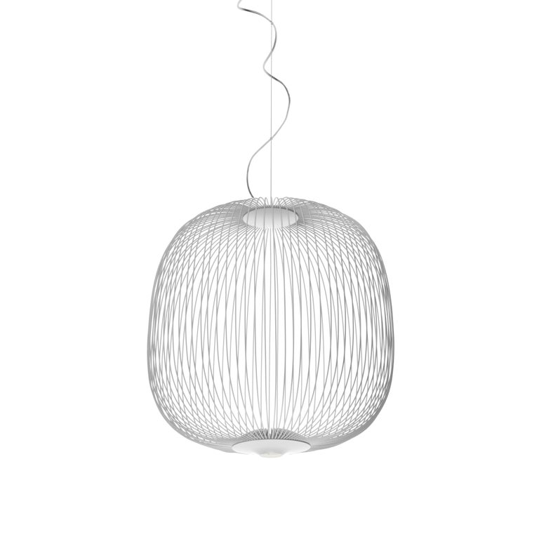 Foscarini Spokes 2 Large Suspension Lamp in White by Garcia and Cumini For Sale
