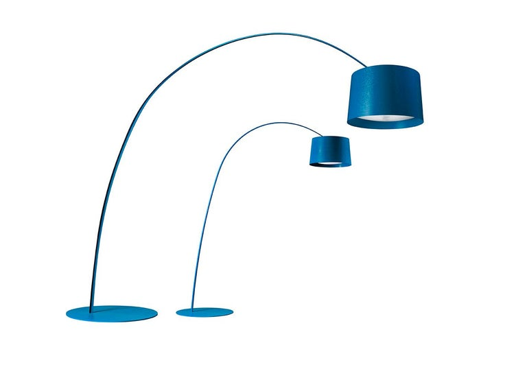 Large floor lamp with direct and indirect up light. Diffuser and rod made of fiberglass-based composite material and liquid coated. The lamp body consists of a large painted aluminum cone. The Diffuser which tops o¬ the cone, where one of the two