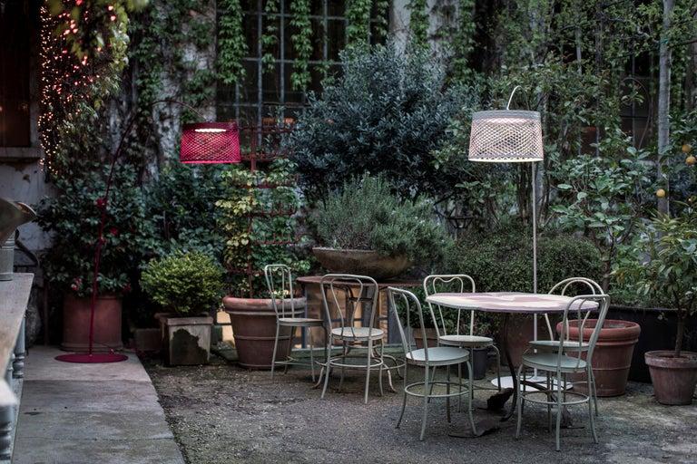 Italian Foscarini Twiggy Grid Outdoor Floor Lamp in Carmine by Marc Sadler For Sale