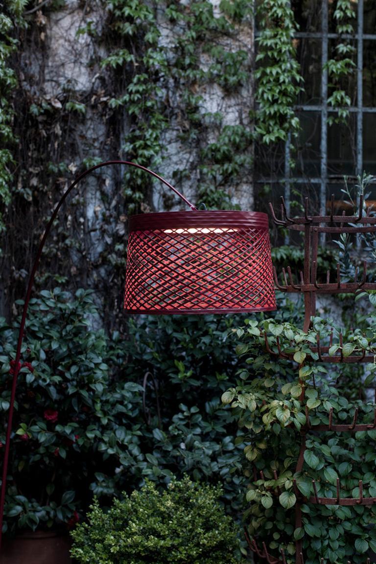 Modern Foscarini Twiggy Grid Outdoor Floor Lamp in Carmine by Marc Sadler For Sale