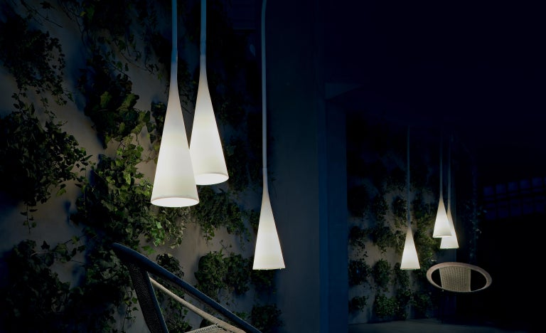 Suspension lamp with diffused and direct light. Cone shaped diffuser and tube made of thermoplastic elastomer, the cone is injection molded and the tube is extruded. Internal opaline polycarbonate cone-shaped diffuser, translucent polycarbonate