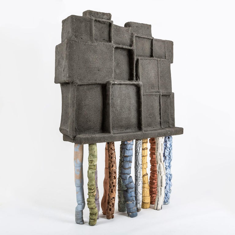 Modern Fossil Cabinet in Concrete and Multicolor Paper by Nacho Carbonell For Sale