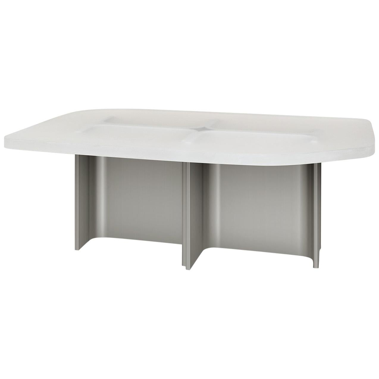 Coffee Table Fossil in Brushed Steel and Transparent Opaque Resin