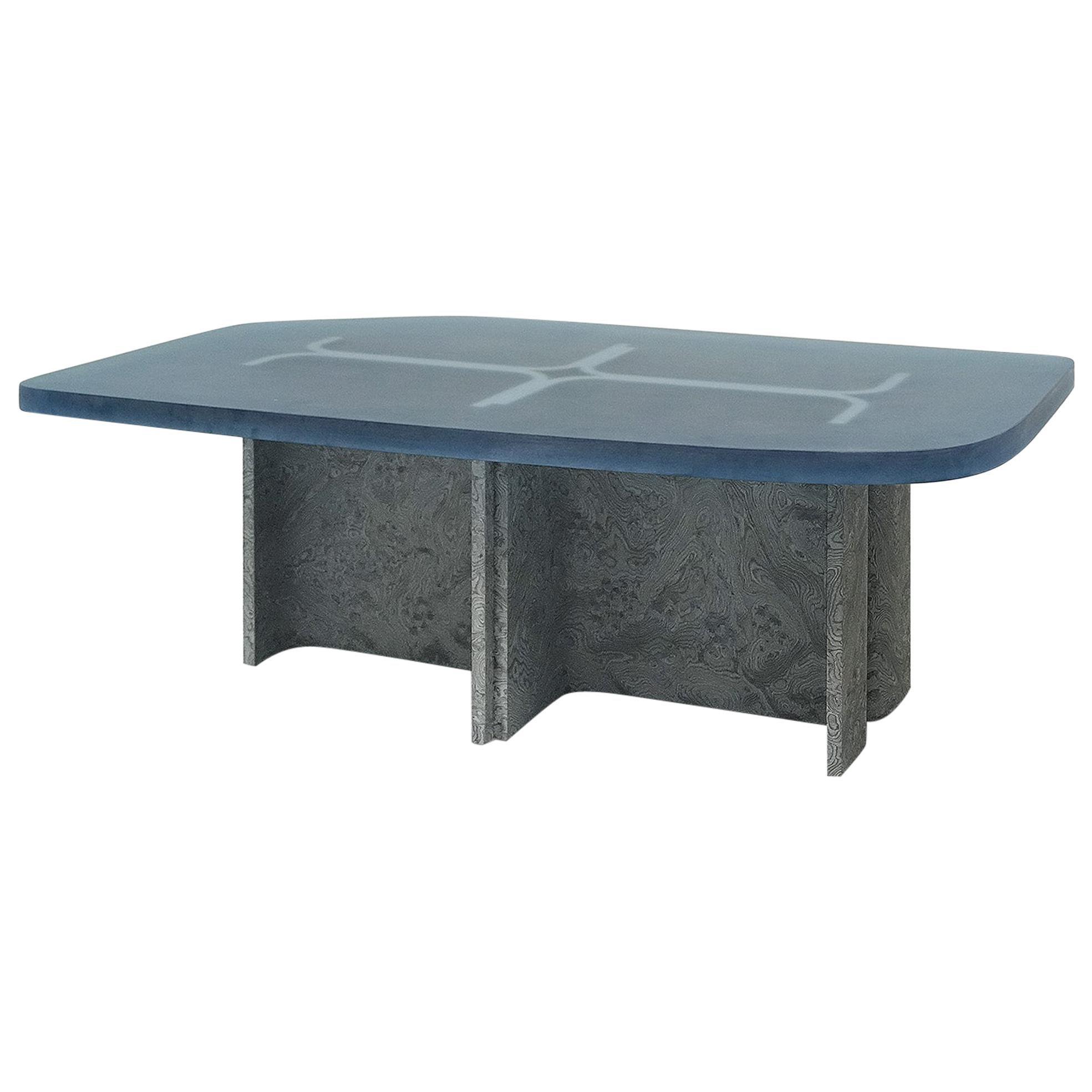 'Fossil' Coffee Table in Grey Elm Burl Veneer and Aqua Blue Opaque Resin