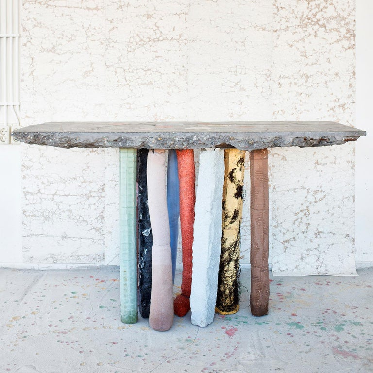 Fossil Console in Concrete by Nacho Carbonell For Sale 1