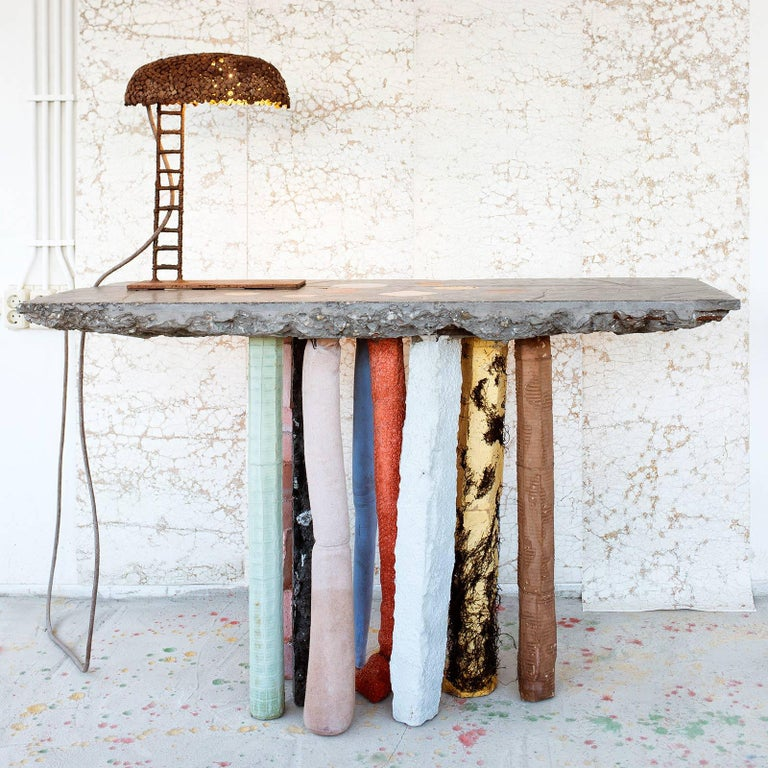 Fossil Console in Concrete by Nacho Carbonell For Sale 2