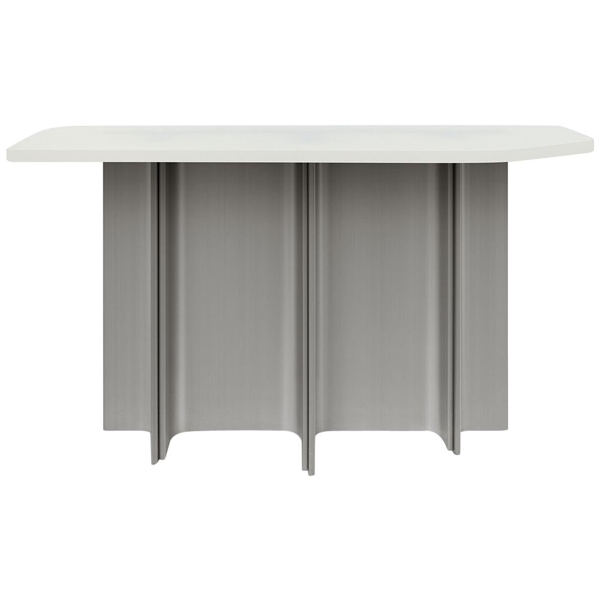 Console Table Fossil in Brushed Steel and Beige Opaque Resin