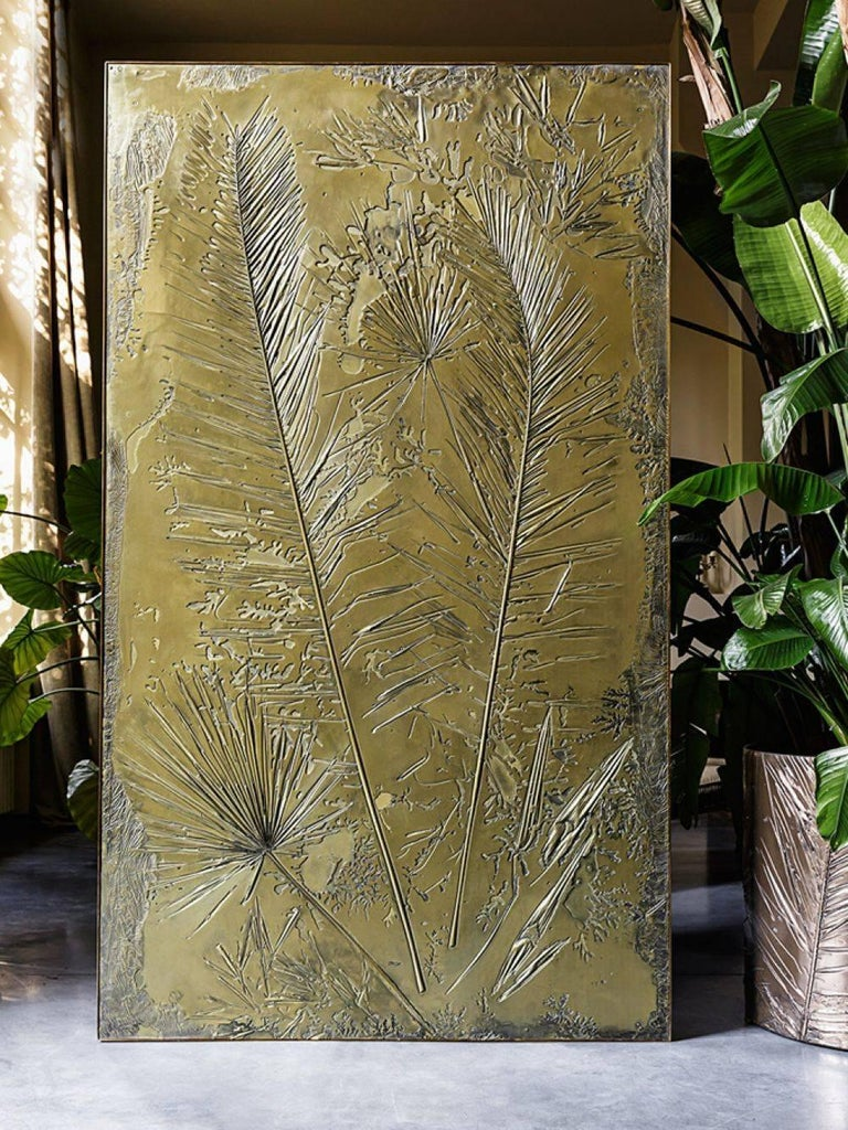 Hollywood Regency 'Fossil I' Monumental Bronze and Brass Screen by Gianluca Pacchioni For Sale