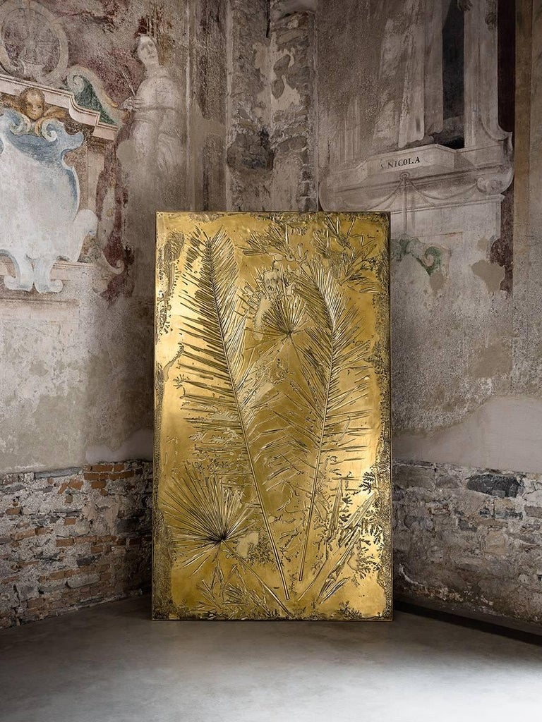 Italian 'Fossil I' Monumental Bronze and Brass Screen by Gianluca Pacchioni For Sale