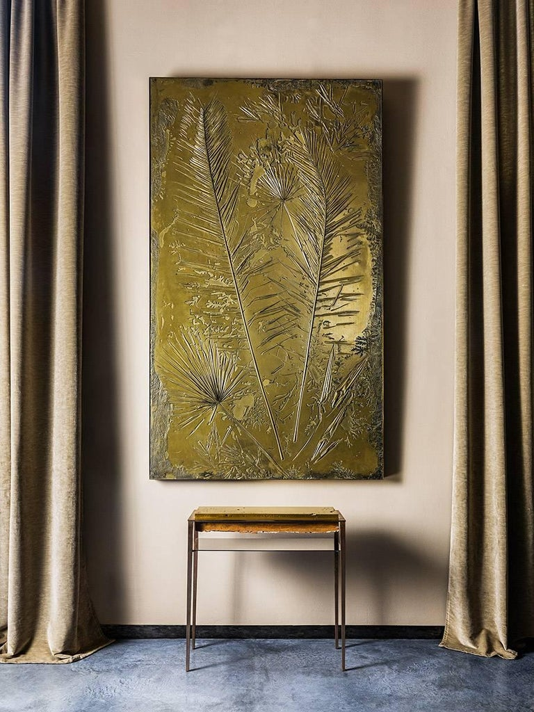 Cast 'Fossil I' Monumental Bronze and Brass Screen by Gianluca Pacchioni For Sale