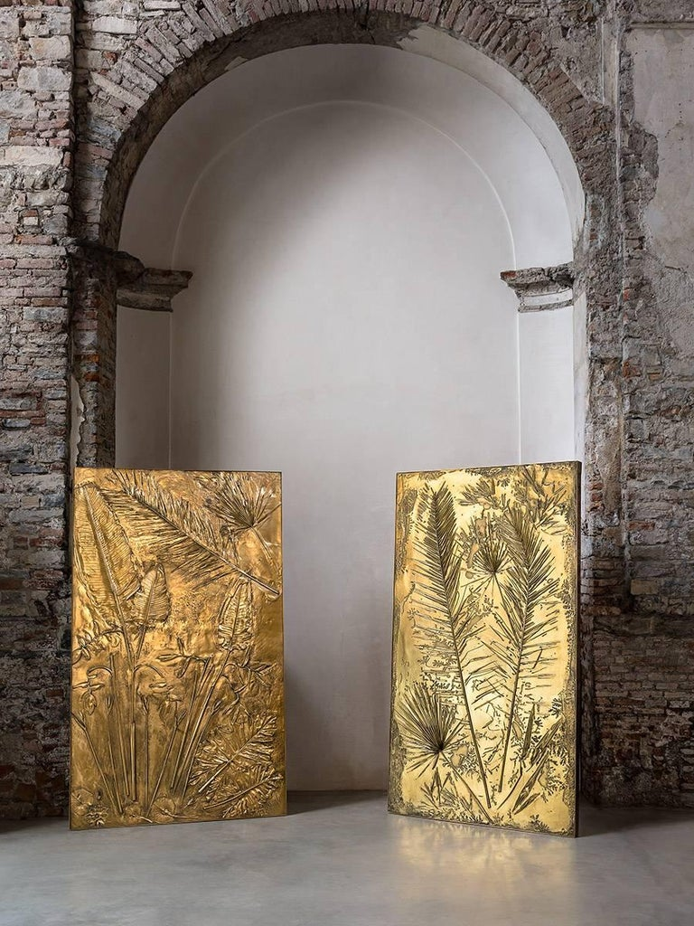Hollywood Regency 'Fossil II' Monumental Bronze and Brass Screen by Gianluca Pacchioni For Sale