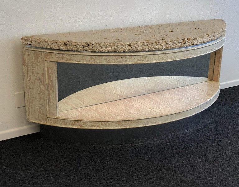 Modern Fossil Shell Stone Top Demilune Two-Tier Console Table by Steve Chase For Sale