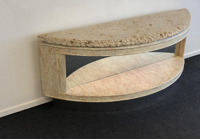 American Fossil Shell Stone Top Demilune Two-Tier Console Table by Steve Chase For Sale