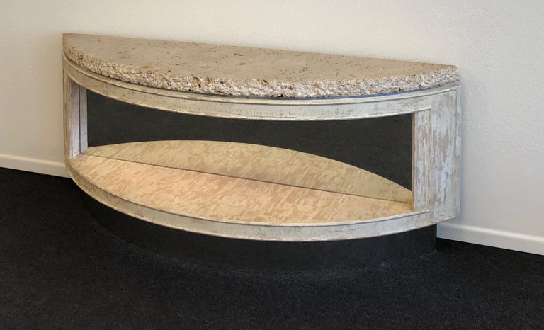 Lacquered Fossil Shell Stone Top Demilune Two-Tier Console Table by Steve Chase For Sale