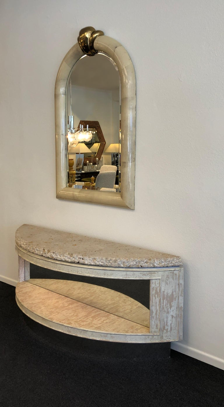 Fossil Shell Stone Top Demilune Two-Tier Console Table by Steve Chase In Good Condition For Sale In Palm Springs, CA