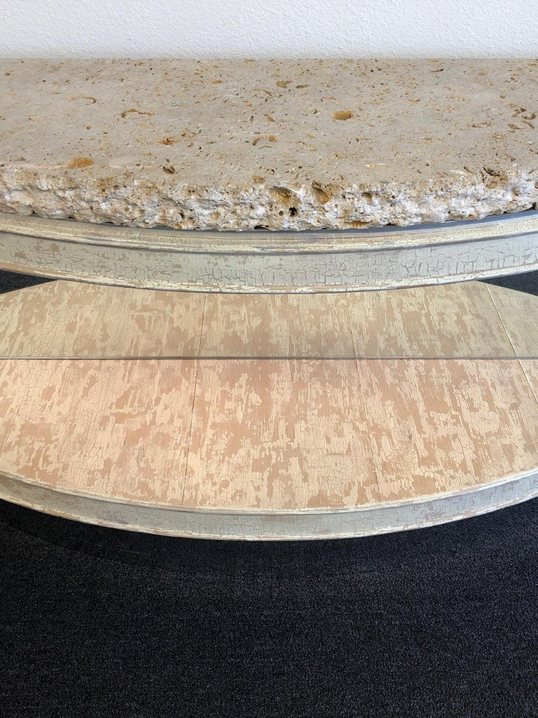 Late 20th Century Fossil Shell Stone Top Demilune Two-Tier Console Table by Steve Chase For Sale