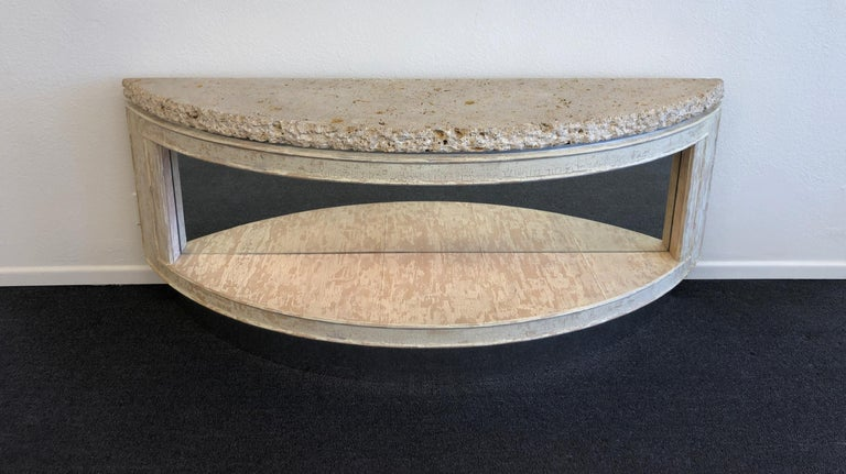 Fossil Shell Stone Top Demilune Two-Tier Console Table by Steve Chase For Sale 2