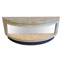 Fossil Shell Stone Top Demilune Two-Tier Console Table by Steve Chase