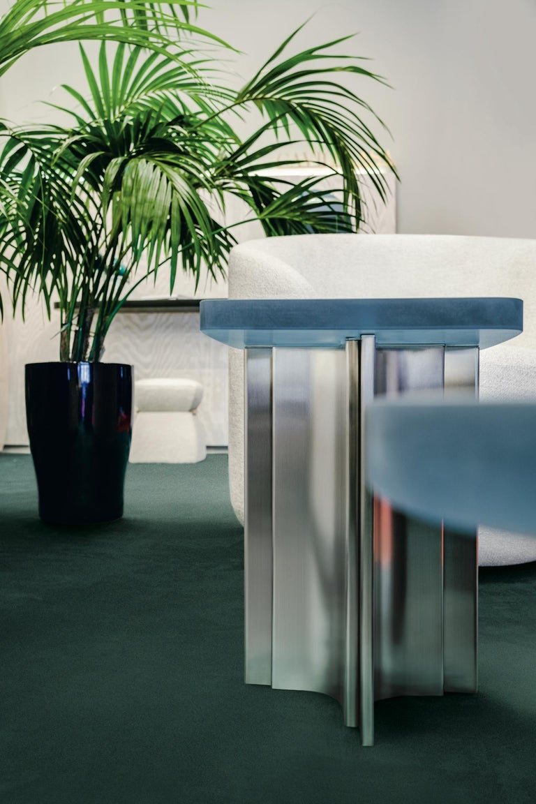 Italian 'Fossil' side table in Brushed steel and aqua blue opaque resin For Sale