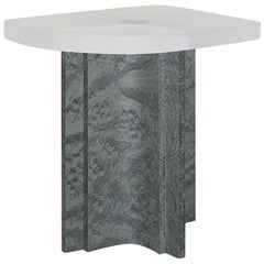 'Fossil' Side Table in Grey Elm Burl Veneer and Transparent Opaque Resin