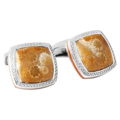 Fossil Star Coral Silver Cufflinks, Limited Edition