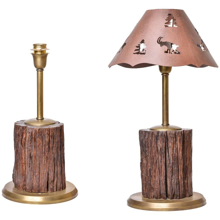 Fossil Wood Table Lamps for Mountain Home For Sale