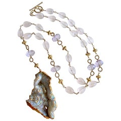 Fossilized Aura Coral Pink Amethyst Rose Quartz Necklace, Violet II Necklace