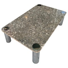 Fossilized Brown Marble and Chrome Modern Coffee Table by Pace Collection