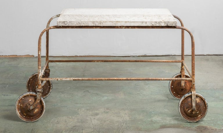 American Fossilized Stone Top Green House Cart, America, 20th Century For Sale