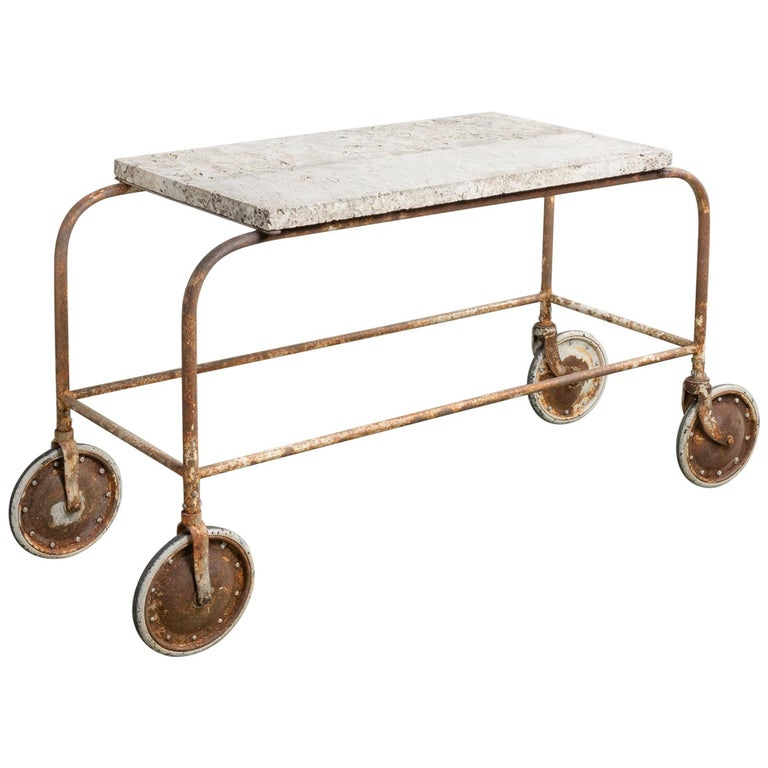 Fossilized Stone Top Green House Cart, America, 20th Century For Sale
